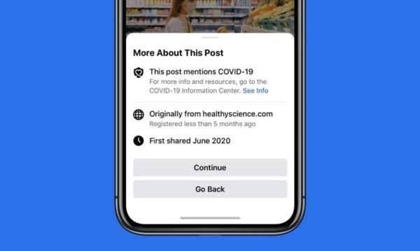 Facebook предупредит пользователей перед публикацией новости о COVID-19