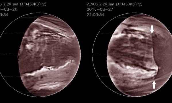 По атмосфере Венеры несется гигантская волна